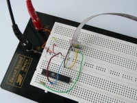 [AVR test circuit on a breadboard]